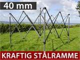 Quick-up telt FleXtents Steel 6x6m Svart, inkl. 8 Sidevegger - 1