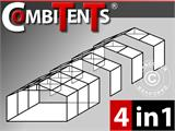 Tente de réception, Exclusive CombiTents® 6x12m 4-en-1, Blanc - 1