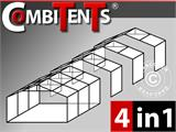 Tente de réception, Exclusive CombiTents® 6x12m 4-en-1, Gris/Blanc - 1