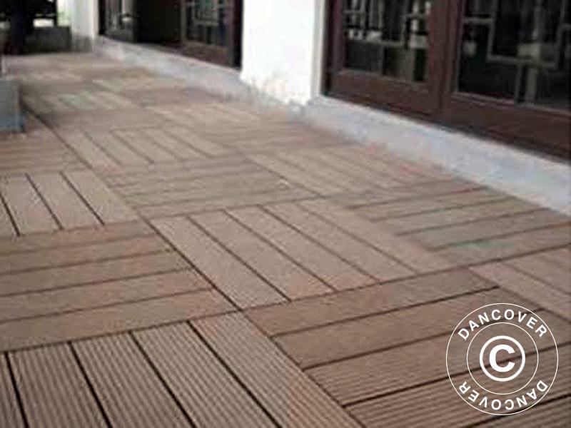 Piastrelle In Wpc Per Pavimenti Esterni 0 3x0 3m Marrone
