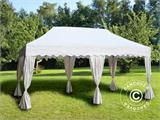 "Pop up gazebo FleXtents PRO ""Wave"" 3x6 m White, incl. 6 decorative curtains - 1"