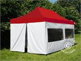 Pop up gazebo FleXtents® PRO, Medical & Emergency tent, 3x6 m, Red/White, incl. 6 sidewalls - 1