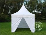 Vouwtent/Easy up tent FleXtents PRO Peak Pagoda 3x3m Wit, Incl. 4 zijwanden - 5