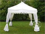 "Pop up gazebo FleXtents PRO ""Wave"" 3x3 m White, incl. 4 decorative curtains - 2"