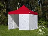 Pop up gazebo FleXtents® PRO, Medical & Emergency tent, 3x3 m, Red/White, incl. 4 sidewalls - 1