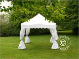 "Carpa plegable FleXtents Xtreme ""Wave"" 3x3m Blanco, incl. 4 cortinas decorativas - 4"