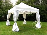 "Carpa plegable FleXtents Xtreme ""Wave"" 3x3m Blanco, incl. 4 cortinas decorativas - 5"