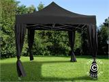 Vouwtent/Easy up tent FleXtents PRO 3x3m Zwart, incl. 4 decoratieve gordijnen - 1