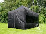 Vouwtent/Easy up tent FleXtents PRO 3x4,5m Zwart, inkl. 4 Zijwanden - 5