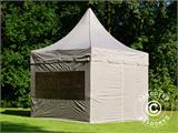 Carpa plegable FleXtents PRO Peak Pagoda 3x3m Latte, incluye 4 muros laterales - 1