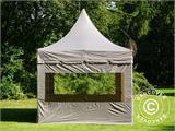Carpa plegable FleXtents PRO Peak Pagoda 3x3m Latte, incluye 4 muros laterales - 4