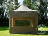 Carpa plegable FleXtents PRO Peak Pagoda 3x3m Latte, incluye 4 muros laterales - 5