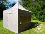 Carpa plegable FleXtents PRO Peak Pagoda 3x3m Latte, incluye 4 muros laterales - 6