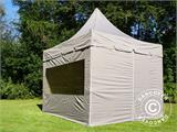 Carpa plegable FleXtents PRO Peak Pagoda 3x3m Latte, incluye 4 muros laterales - 7