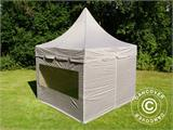 Carpa plegable FleXtents PRO Peak Pagoda 3x3m Latte, incluye 4 muros laterales - 10