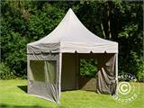 Carpa plegable FleXtents PRO Peak Pagoda 3x3m Latte, incluye 4 muros laterales - 12