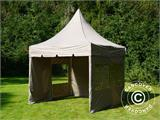 Carpa plegable FleXtents PRO Peak Pagoda 3x3m Latte, incluye 4 muros laterales - 14