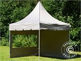 Carpa plegable FleXtents PRO Peak Pagoda 3x3m Latte, incluye 4 muros laterales - 31