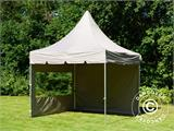 Carpa plegable FleXtents PRO Peak Pagoda 3x3m Latte, incluye 4 muros laterales - 32