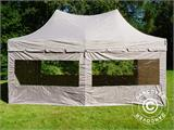 Quick-up telt FleXtents PRO Peak Pagoda 3x6m Latte, inkl. 6 sidevegger - 1