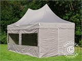 Quick-up telt FleXtents PRO Peak Pagoda 3x6m Latte, inkl. 6 sidevegger - 2