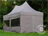 Quick-up telt FleXtents PRO Peak Pagoda 3x6m Latte, inkl. 6 sidevegger - 3