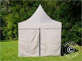 Quick-up telt FleXtents PRO Peak Pagoda 3x6m Latte, inkl. 6 sidevegger - 6