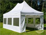 Pop up gazebo FleXtents PRO Peak Pagoda 4x6 m White, incl. 8 sidewalls - 8