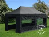 Visitor tent FleXtents PRO 3x6 m Black, incl. 6 sidewalls and 1 transparent partition wall - 7