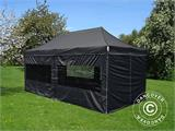Visitor tent FleXtents PRO 3x6 m Black, incl. 6 sidewalls and 1 transparent partition wall - 8