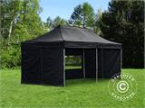 Visitor tent FleXtents PRO 3x6 m Black, incl. 6 sidewalls and 1 transparent partition wall - 9
