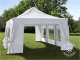 Quick-up telt FleXtents PRO 4x6m Hvit, inkl. 8 sider & dekorative gardiner - 2