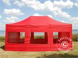 Vouwtent/Easy up tent FleXtents PRO 4x6m Rood, inkl. 8 Zijwanden - 2