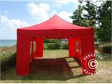Vouwtent/Easy up tent FleXtents PRO 4x6m Rood, inkl. 8 Zijwanden - 3