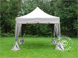 "Pop up gazebo FleXtents PRO ""Peaked"" 4x4 m Latte, incl. 4 decorative curtains - 1"