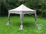 "Pop up gazebo FleXtents PRO ""Peaked"" 4x4 m Latte, incl. 4 decorative curtains - 3"
