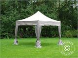 "Pop up gazebo FleXtents PRO ""Peaked"" 4x4 m Latte, incl. 4 decorative curtains - 4"