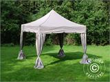 "Pop up gazebo FleXtents PRO ""Peaked"" 4x4 m Latte, incl. 4 decorative curtains - 5"