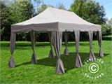"Tenda Dobrável FleXtents PRO ""Peaked"" 4x6m Latte, incl. 8 cortinas decorativas - 1"