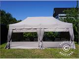 "Pop up gazebo FleXtents PRO ""Peaked"" 4x8 m Latte, incl. 6 sidewalls and 6 decorative curtains - 1"