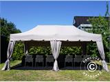 "Pop up gazebo FleXtents PRO ""Peaked"" 4x8 m Latte, incl. 6 sidewalls and 6 decorative curtains - 2"