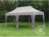 "Pop up gazebo FleXtents PRO ""Peaked"" 4x8 m Latte, incl. 6 sidewalls and 6 decorative curtains - 3"