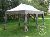 "Pop up gazebo FleXtents PRO ""Peaked"" 4x8 m Latte, incl. 6 sidewalls and 6 decorative curtains - 5"