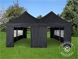 Pop up gazebo FleXtents PRO Peak Pagoda 6x6 m, Black, Incl. 8 sidewalls - 1