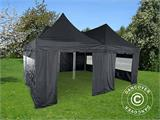Pop up gazebo FleXtents PRO Peak Pagoda 6x6 m, Black, Incl. 8 sidewalls - 6
