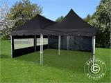 Pop up gazebo FleXtents PRO Peak Pagoda 6x6 m, Black, Incl. 8 sidewalls - 12