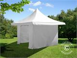 Pop up gazebo FleXtents Pagoda Xtreme 4x4 m / (5x5 m) White, incl. 4 sidewalls - 1