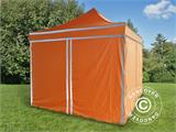 Pop up gazebo FleXtents PRO Work tent 3x3 m Orange Reflective, incl. 4 sidewalls - 4