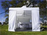 Visitor tent FleXtents Steel 3x6 m White, incl. 4 sidewalls and 1 transparent partition wall - 1