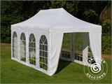 Visitor tent FleXtents Steel 3x6 m White, incl. 4 sidewalls and 1 transparent partition wall - 3